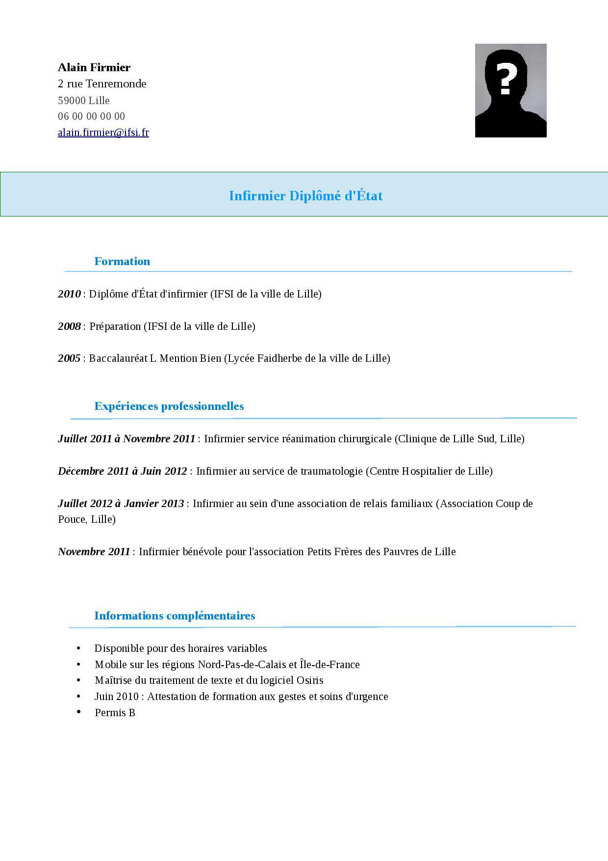Exemple, modèle de CV Infirmier | STAFFSANTÉ