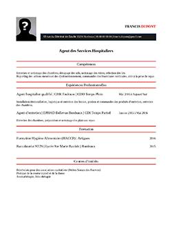 Modele Exemple De Cv Ash Agent Services Hospitaliers Staffsante