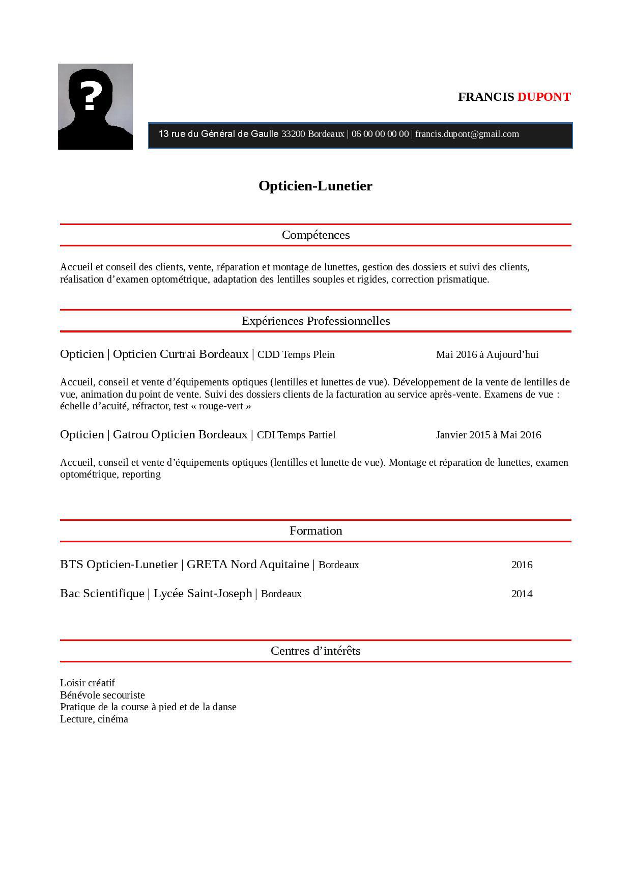 Modele Exemple De Cv Opticien Lunetier Staffsante