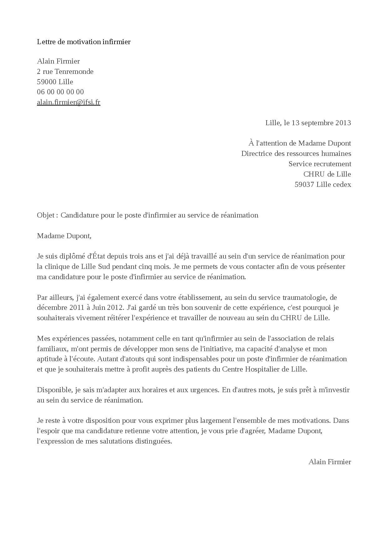 Exemple de lettre de motivation infirmier  STAFFSANTÉ