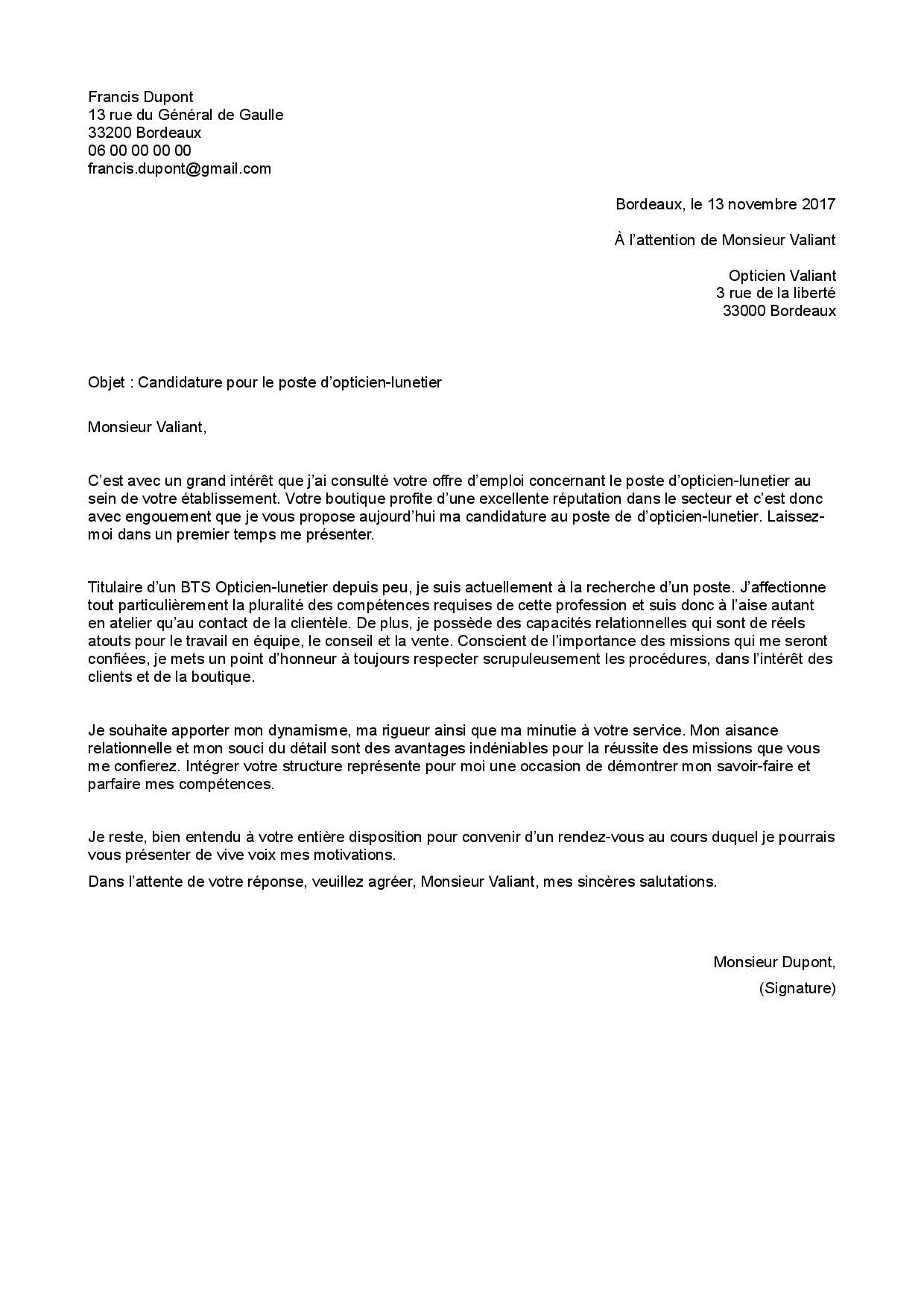Exemple De Lettre De Motivation Opticien Staffsante